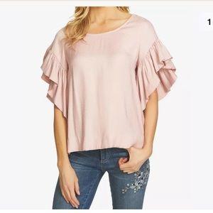 Cece Rose Pink Pearl Dot Flutter Sleeve Blouse